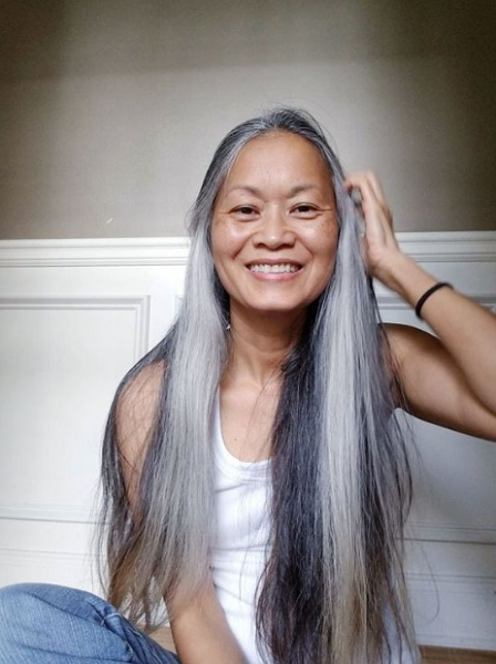 Super Long Straight Hairstyle for Mature Hair