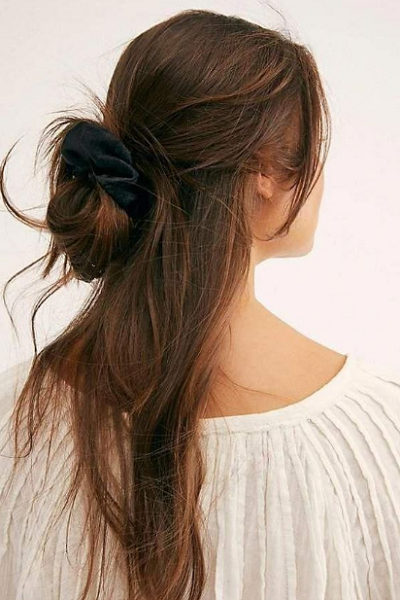 Super Messy Half Up Half Down Hairstyle with Messy Bun and Satin Scrunchie