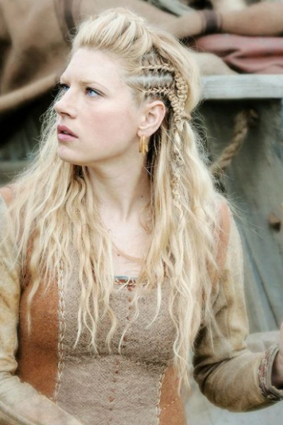 Viking-Inspired Half Up Half Down Hairstyle with Side Cornrows and Upper Braid