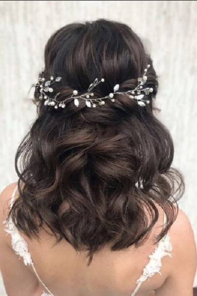 Wavy Elegant Half Up Half Down Hairstyle with Twisted Crown and Accessories