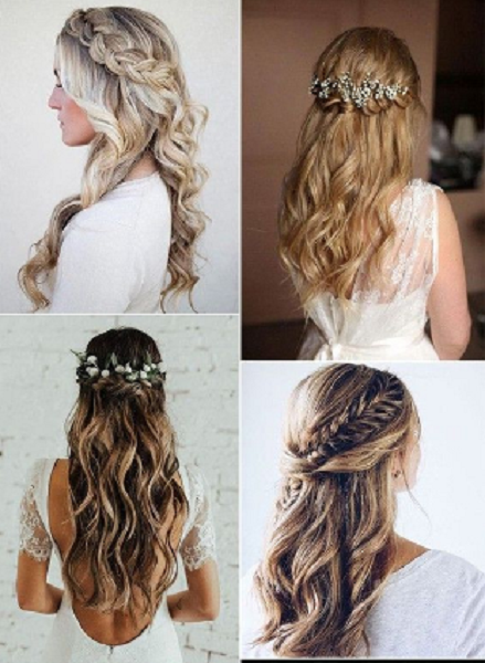 Wavy Hairstyles with Braided and Twisted Crown (4 ideas)