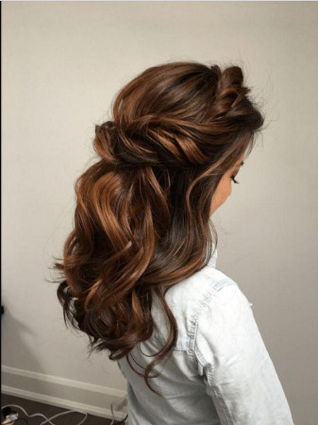 Wavy Half Up Half Down Hairstyle with Around the Head Twisted Crown