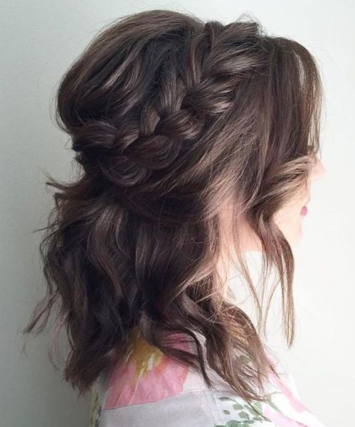Wavy Half Up Half Down Hairstyle with Braided Crown