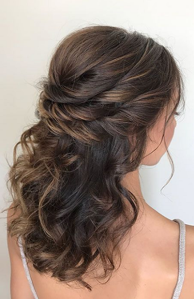 Wavy Half Up Half Down Hairstyle with Double Twisted Crown