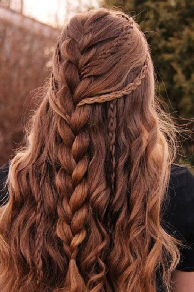 Wavy Half Up Half Down Hairstyle with Intricate Large Braid and Thin Braids