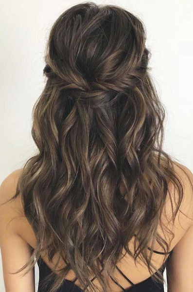 Wavy Half Up Half Down Hairstyle with Messy Twisted Crown
