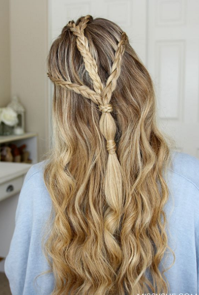 Wavy Half Up Half Down Hairstyle with Triple Braided Crown