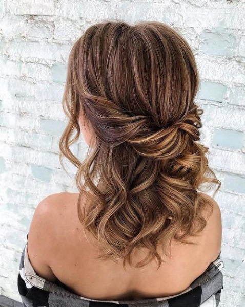 Wavy Half Up Half Down Hairstyle with Twisted Hair Crown