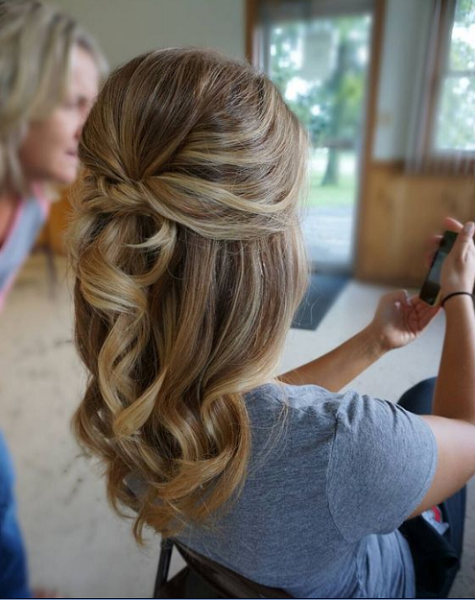 Wavy Half Up Half Down Hairstyle with Twisted and Knotted Crown