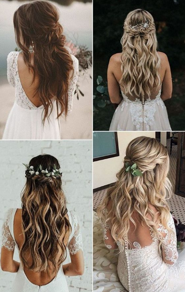 Wavy Half Up Half Down Hairstyles with Twisted Crown (4 ideas)