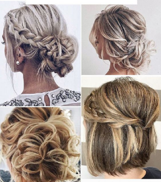 Wavy Low Buns and Straight Up Do for Shorter Hair (4 ideas)