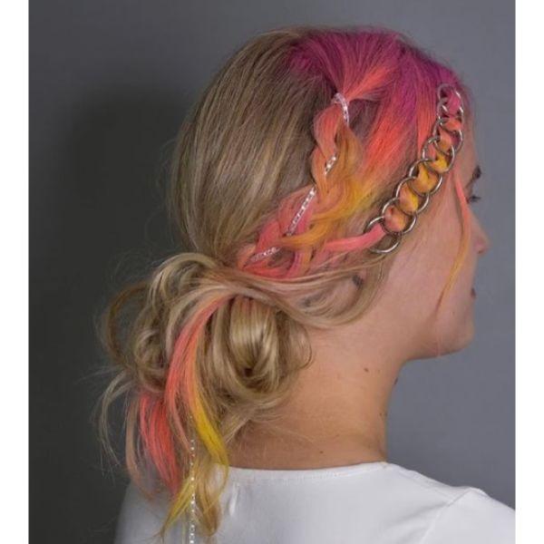 Pink & Blonde Braided Low Ponytail