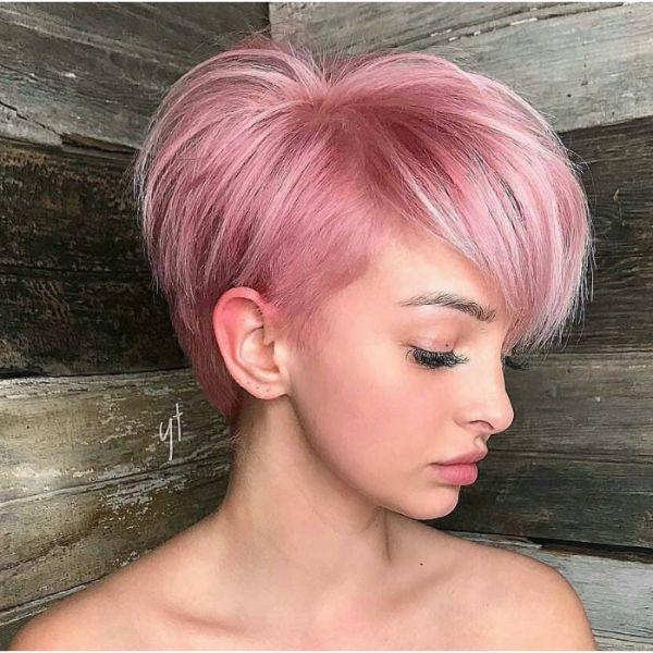Pink Pixie Haircut Straight Hair