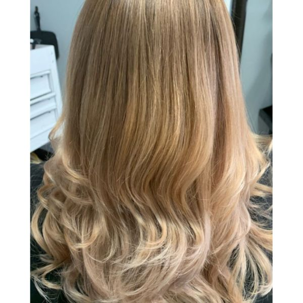 Straight Blonde Hair With Curly Tips