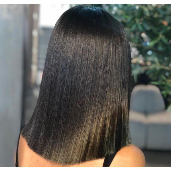 Dark And Shiny Lob Straight Hair