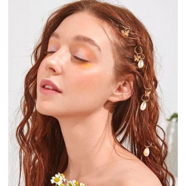Wet-Hair Look & Seashell Hair Rings