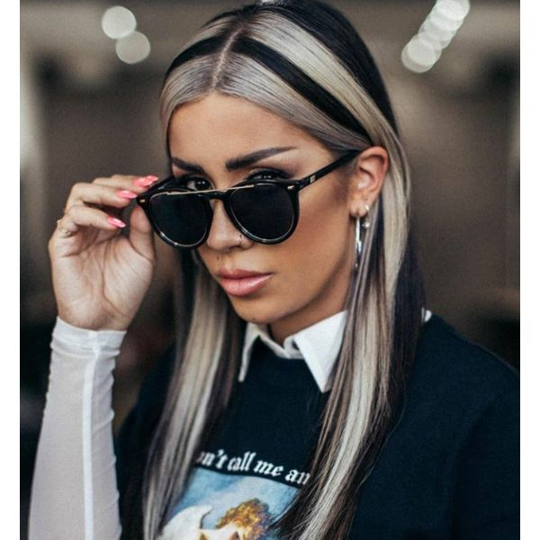 Black & White Straight Hair