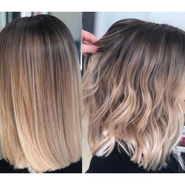Lob Balayage Two Looks