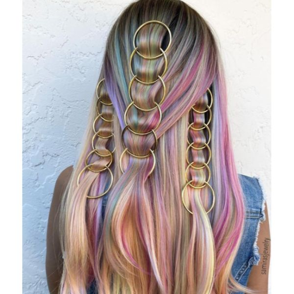 Dreamy Rainbow Down-Do With Hair Rings