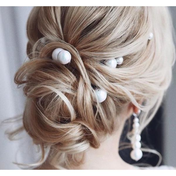 Low Bun With Pearls