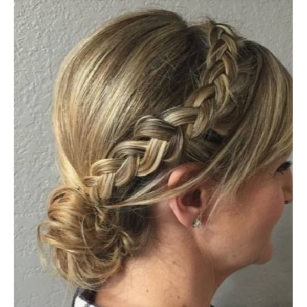 Braided Low Bun With Bangs