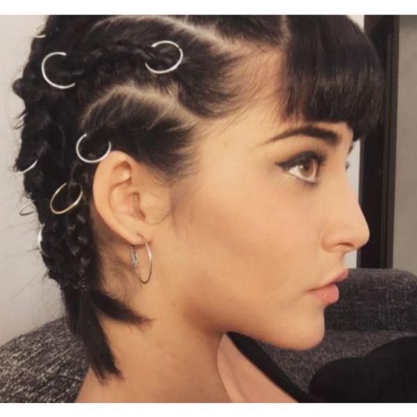 Super Short Braids & Bangs With Hair Rings