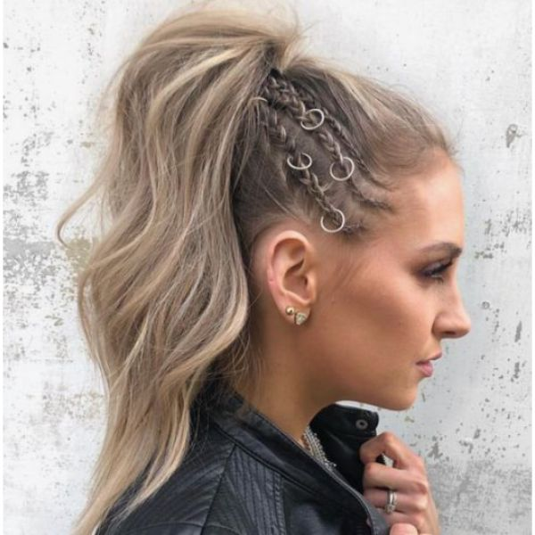 High Ponytail With Braided Details