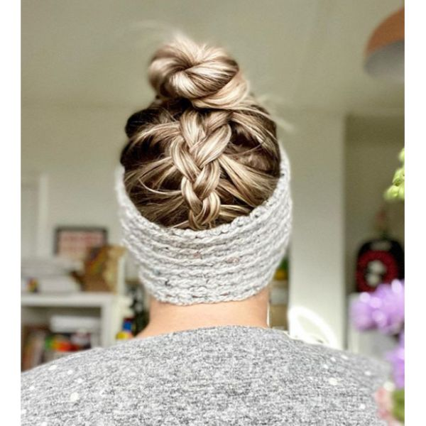 Topknot With Braided Back And Hairband