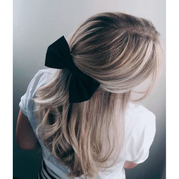 Half Updo With Bow
