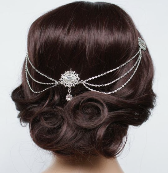 Low Twisted Updo Vintage Headpiece