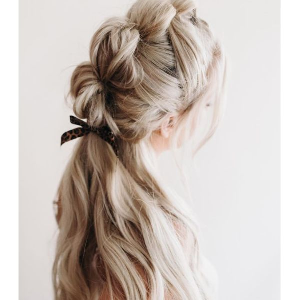 Bubble Braid Half Updo