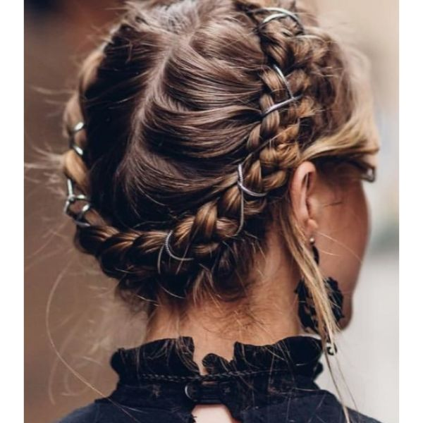 Braided Crown With Hair Rings