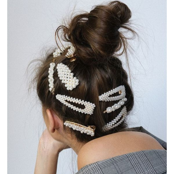 Messy Bun With Pearl Hairclips