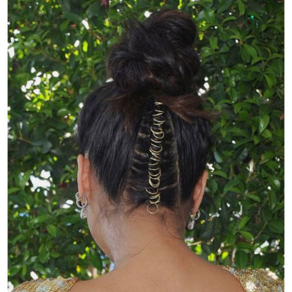 High Bun With Braided Back & Hair Rings