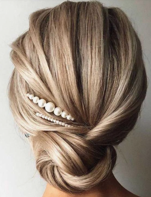 Medium Hair Updo With Pearls