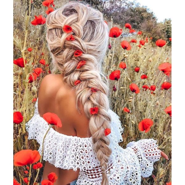 Chunky Side Braid With Flowers