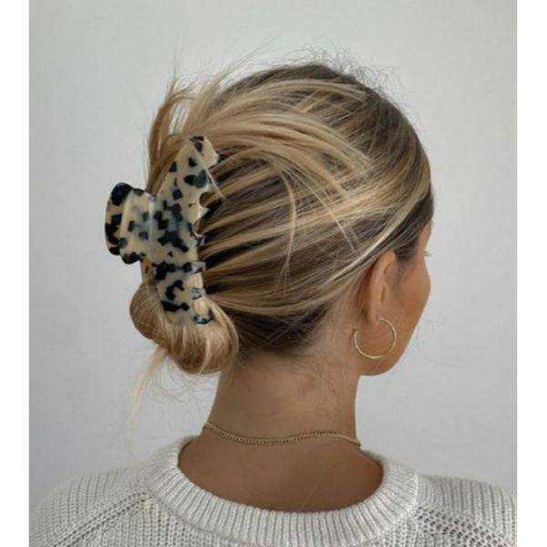 Clamp Updo Straight Hair