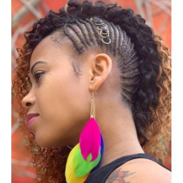 Edgy Cornrows & Hair Rings Updo