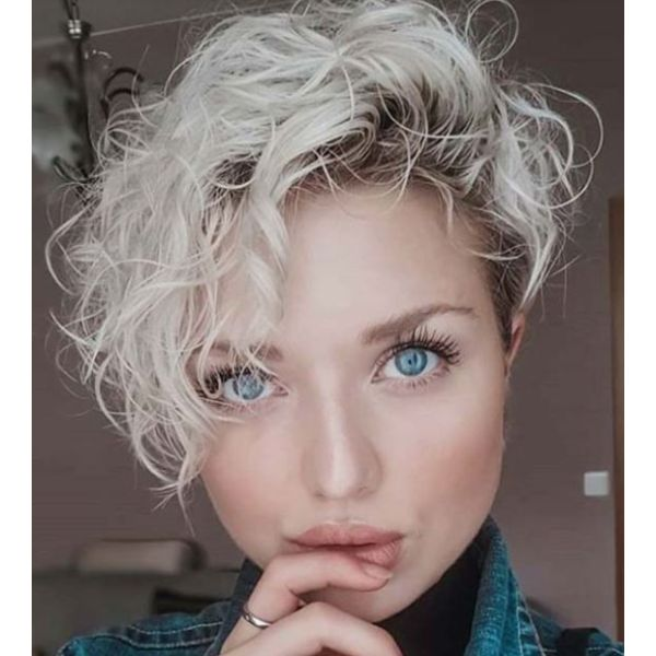Asymmetrical Pixie For Short & Curly Hair