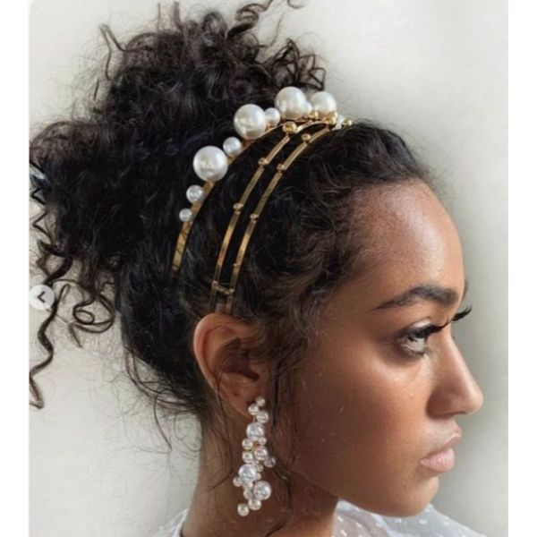 Pearls Updo Short & Curly Hair