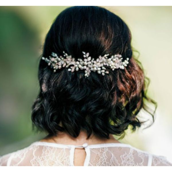 Half Updo With Dainty Headpiece