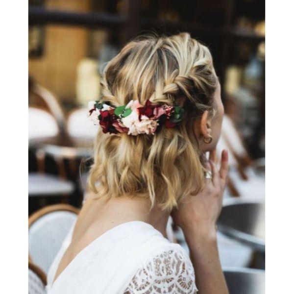 Braided Floral Half Updo