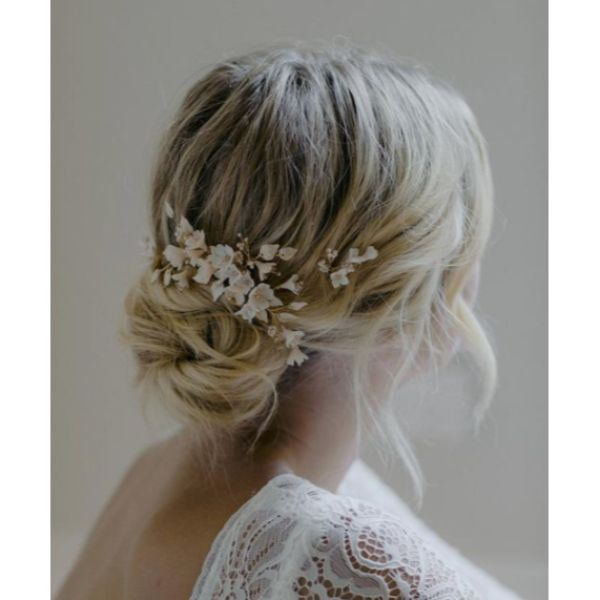 Low Bun With Blossoms Short Hair