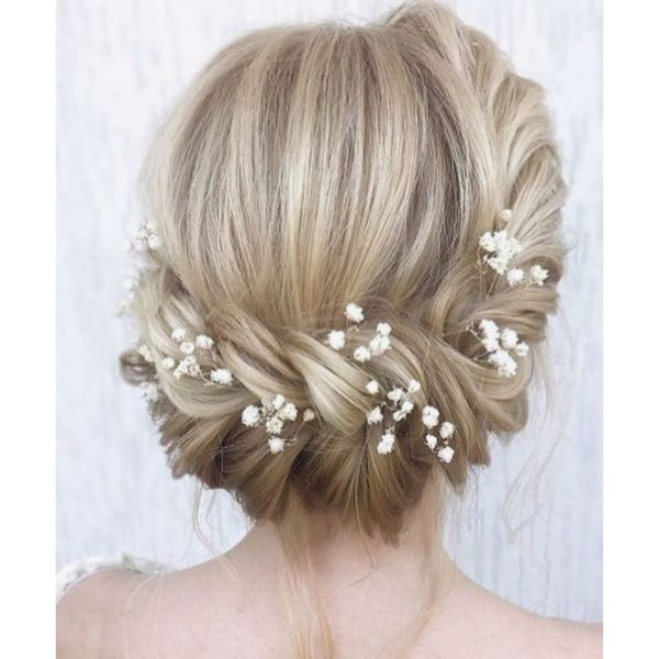 Low Updo With Blossoms