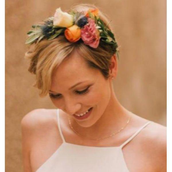 Short Hair Flower Crown
