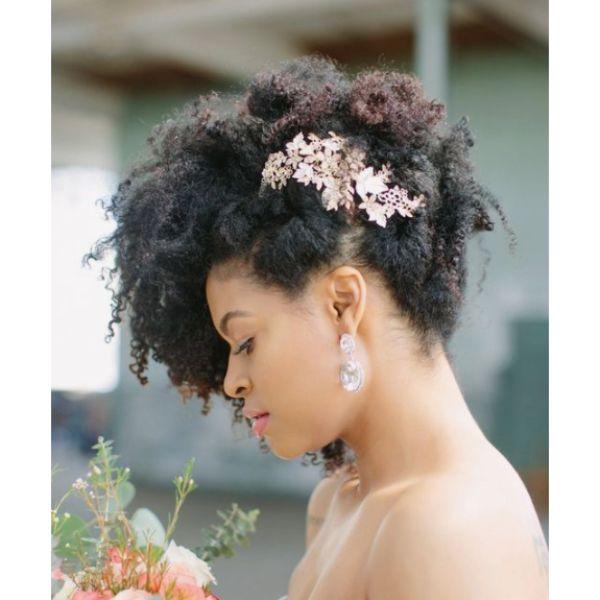 Side Swept Floral Afro