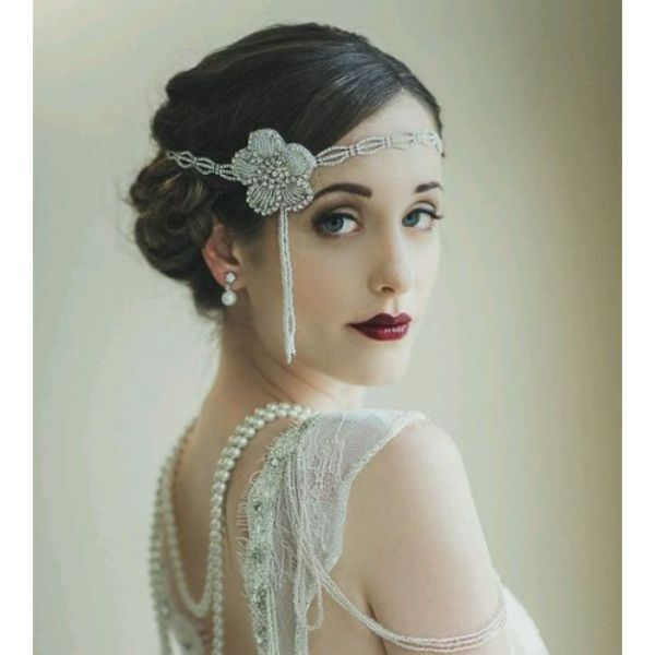 20s Updo With Flower Headpiece