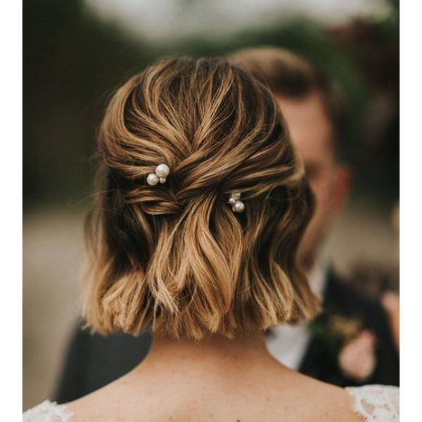 Twisted Half Updo Pearls
