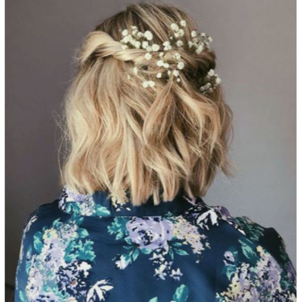 Twisted Floral Half Updo