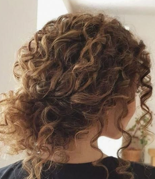 Low Bun Short Curly Hair